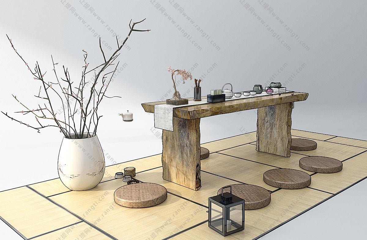 新中式原木茶桌、茶具组合3D模型