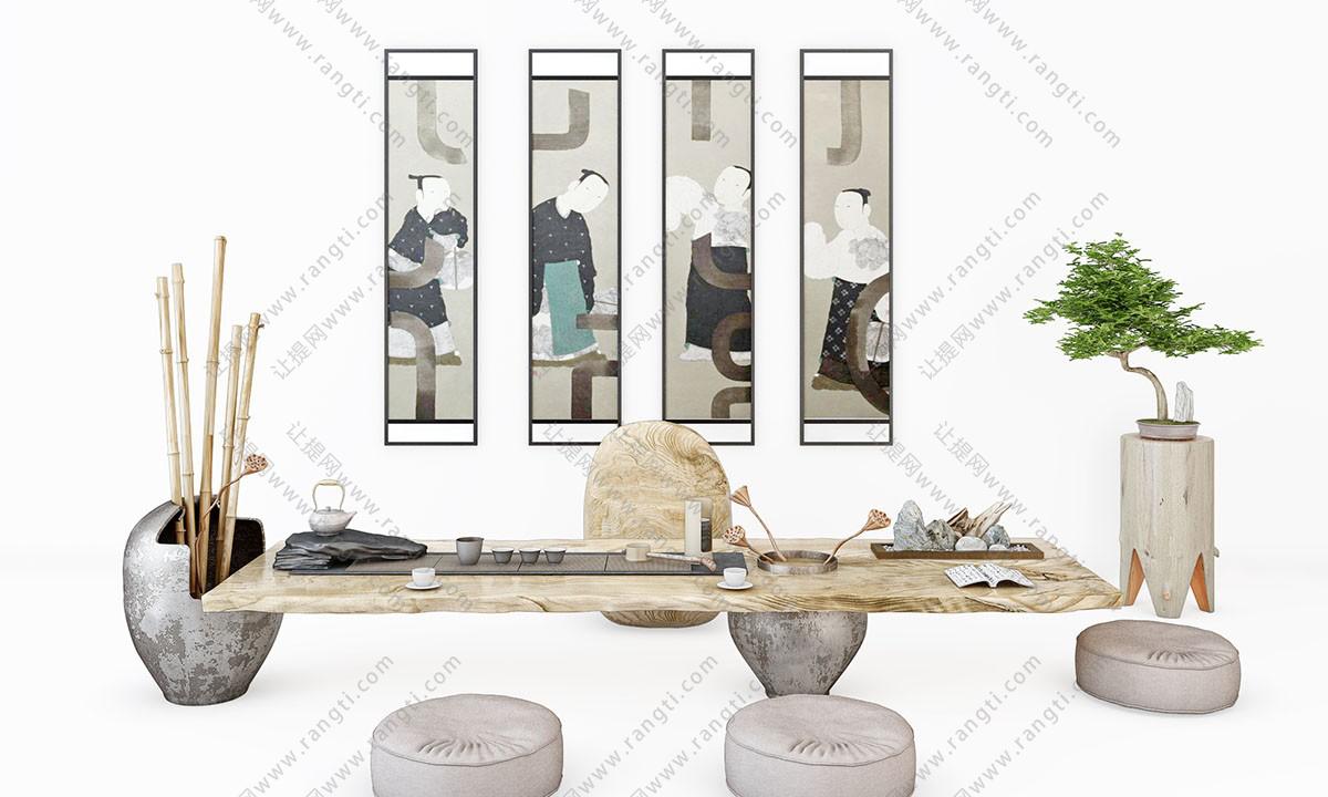 日式茶室、茶具和装饰画组合3D模型下载