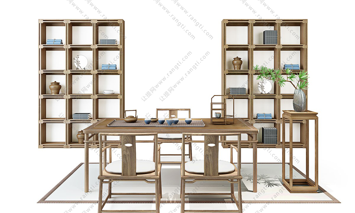 新中式茶桌椅、花架和装饰柜组合3D模型下载