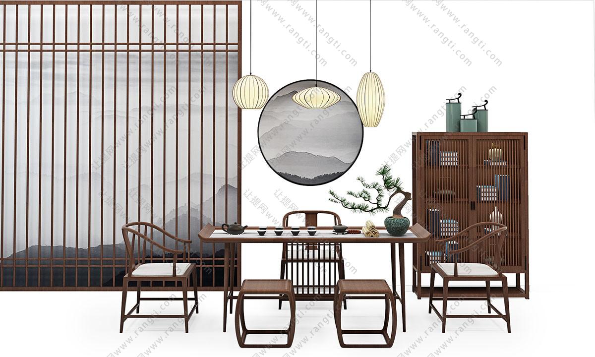 新中式茶桌椅、装饰柜和坐凳组合3D模型下载