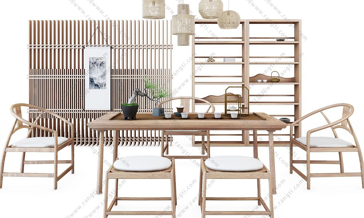 新中式茶桌椅、圈椅和坐凳组合3D模型