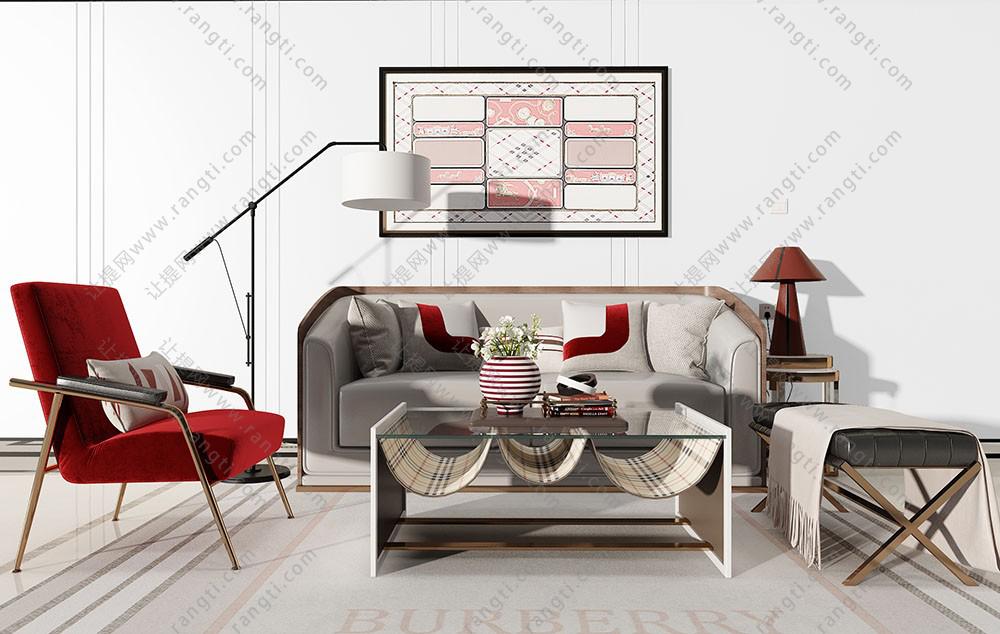 轻奢沙发、茶几、挂画和落地灯组合3D模型