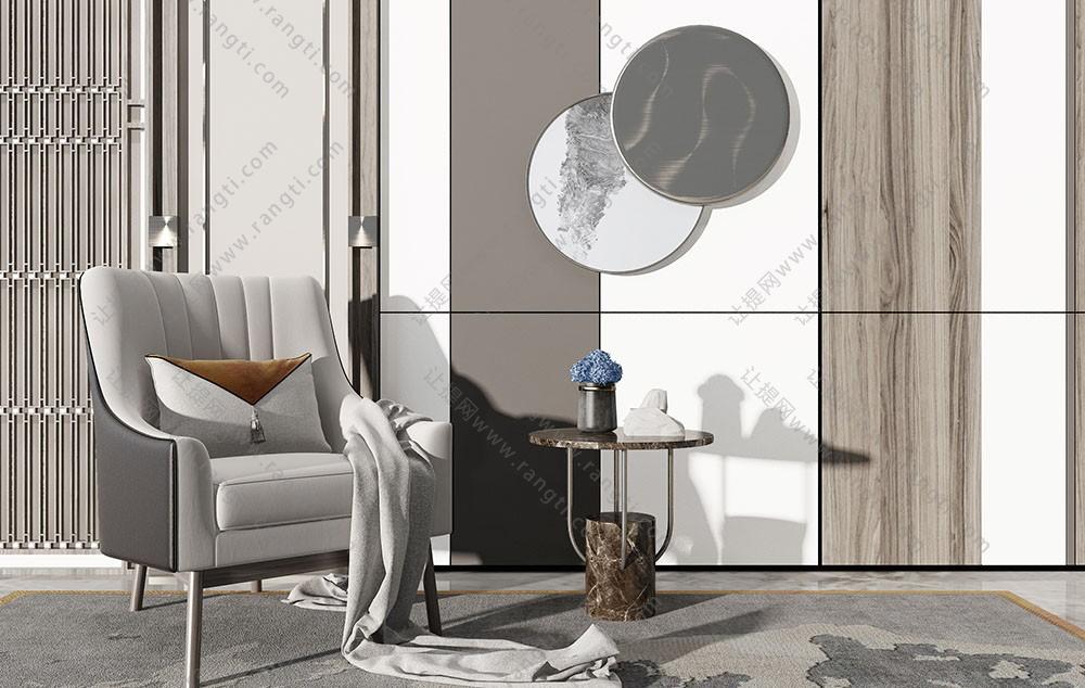 新中式沙发椅、边几和圆形墙饰挂件组合3D模型