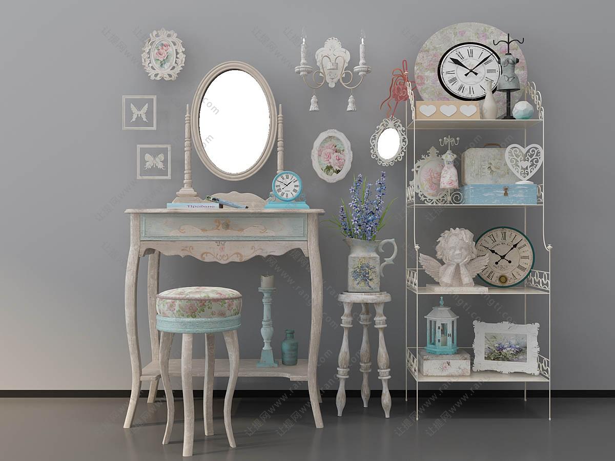 欧式梳妆台、装饰架组合3D模型