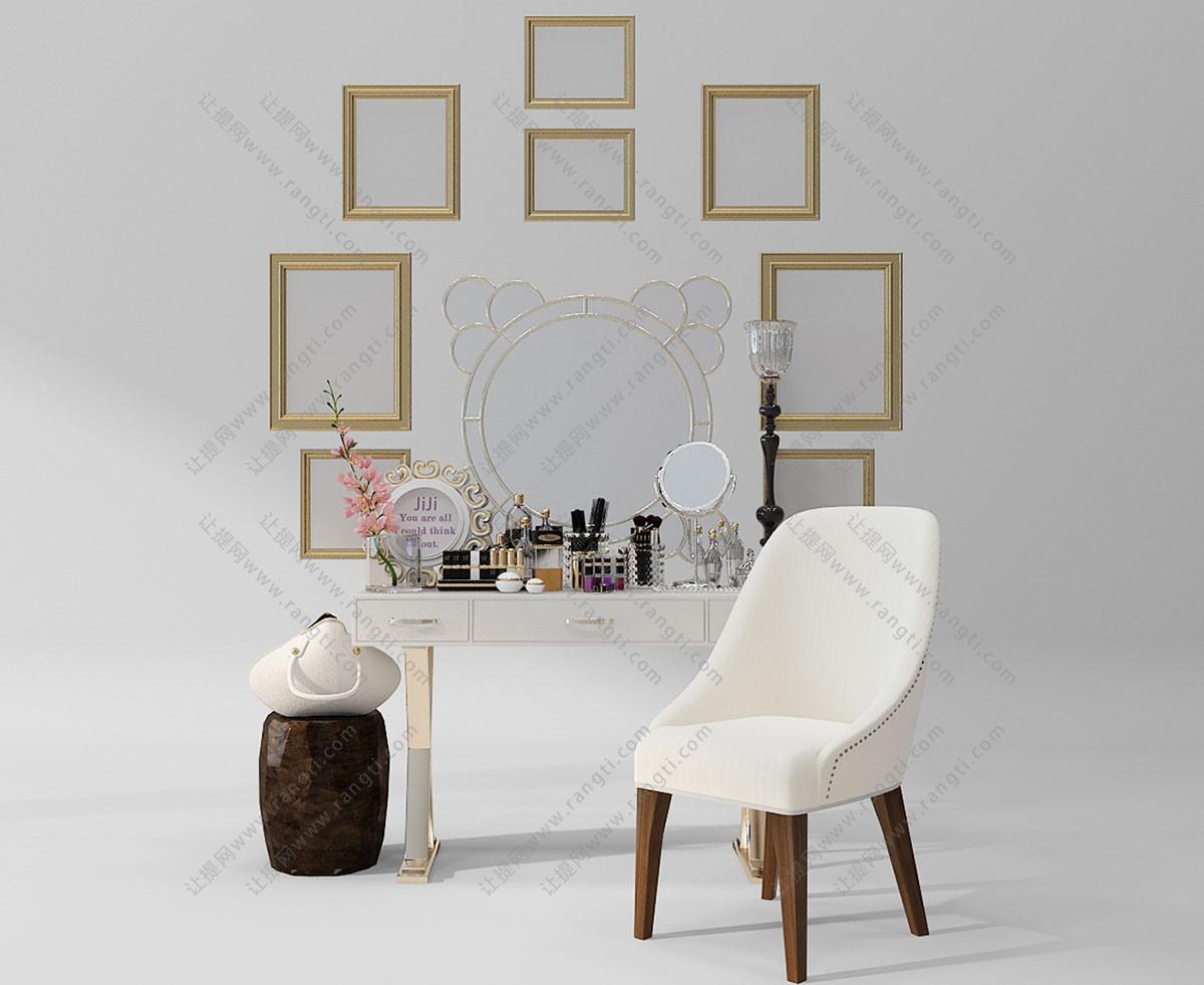 新古典梳妆台、坐墩组合3D模型