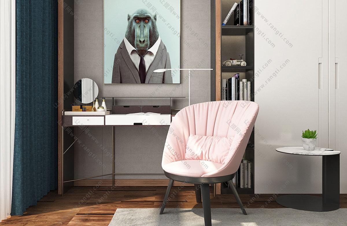 后现代梳妆台、书桌椅组合3D模型