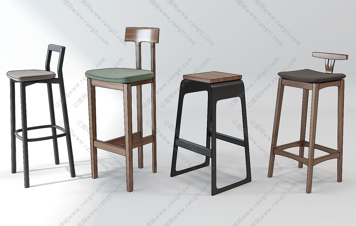 新中式吧台椅、吧凳3D模型