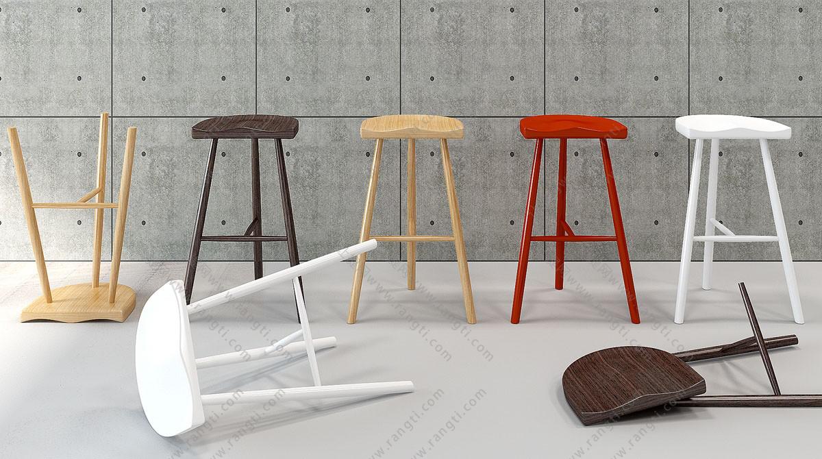 现代简约吧凳、吧台椅3D模型