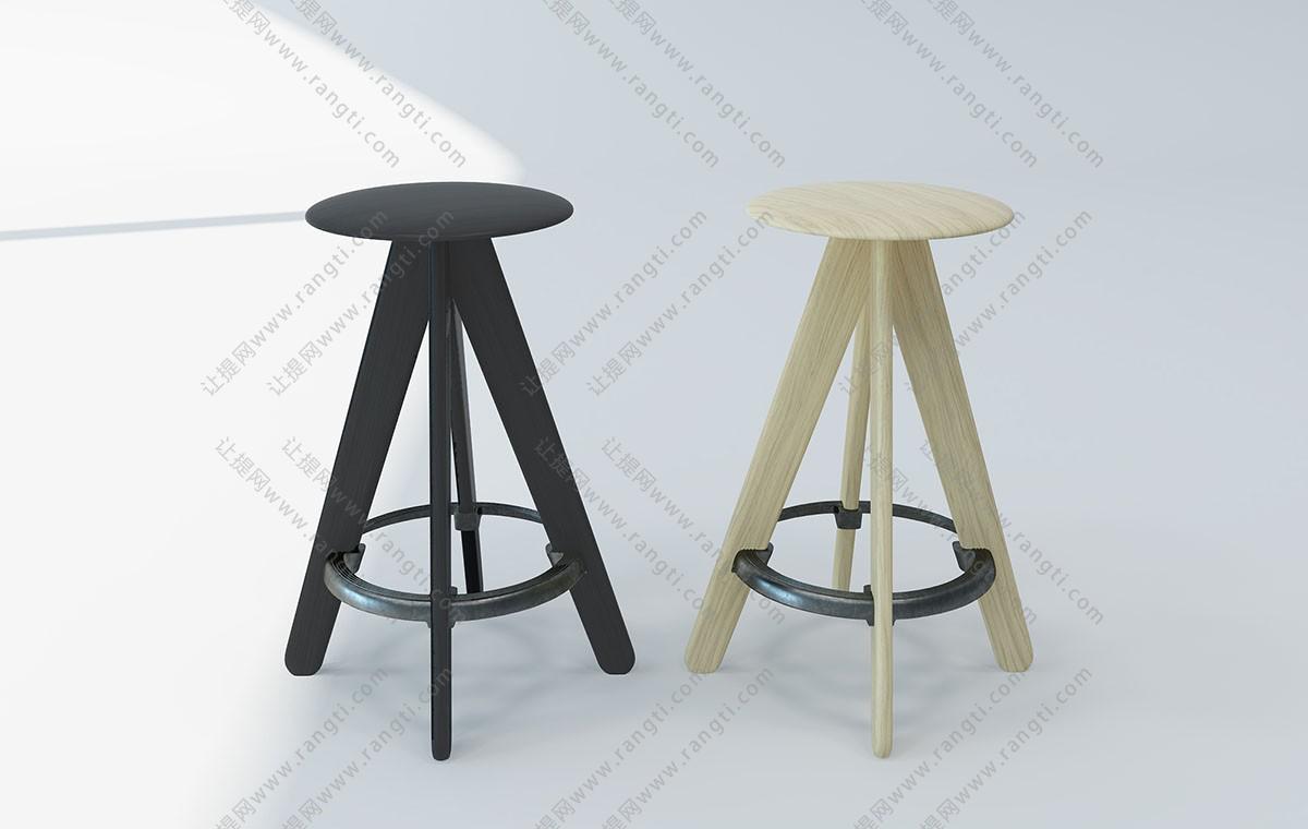 现代圆形实木吧凳、吧椅3D模型