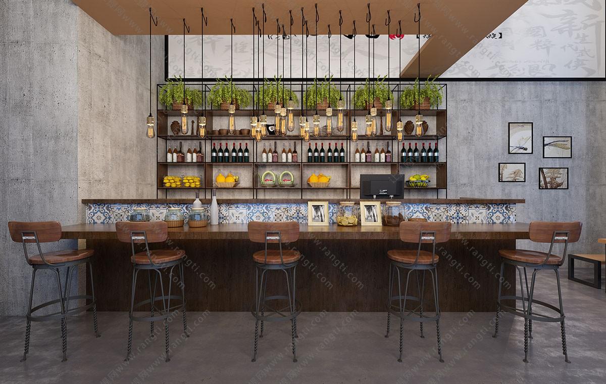 工业风酒吧吧台、吧台椅3D模型