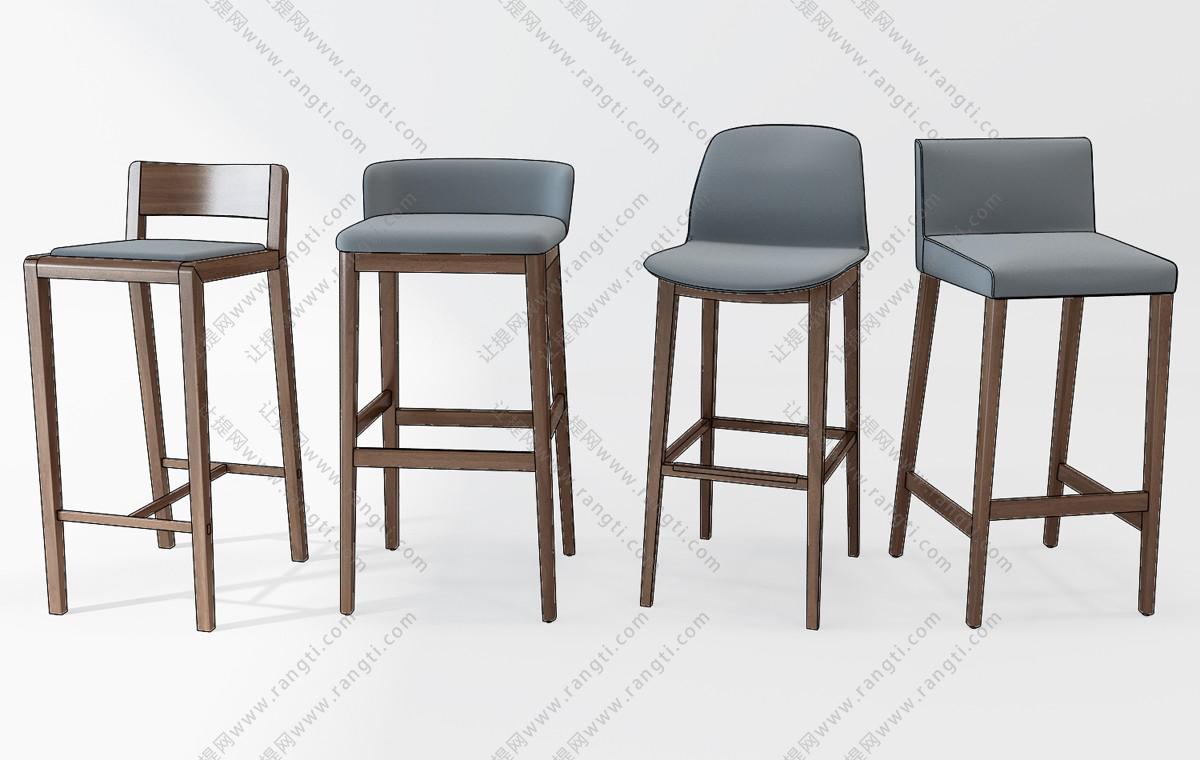 现代布艺吧台椅3D模型