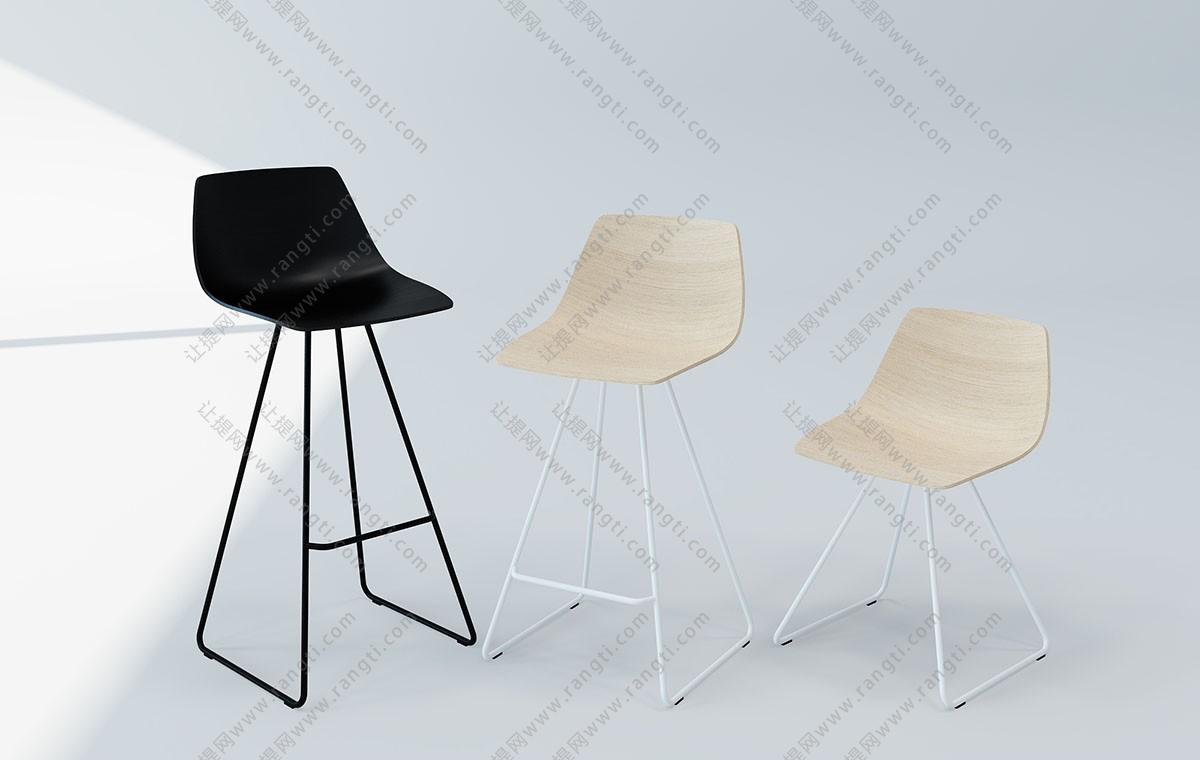 现代简约吧台椅3D模型下载