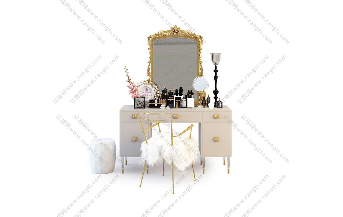 简欧梳妆台、梳妆镜组合3D模型