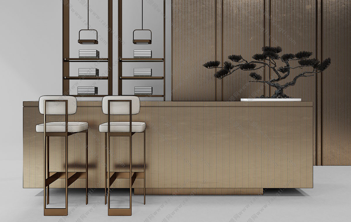 新中式吧台椅、接待台组合3D模型