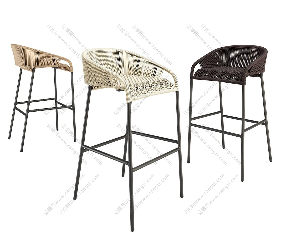 工业风loft藤编吧台椅、吧凳3D模型下载