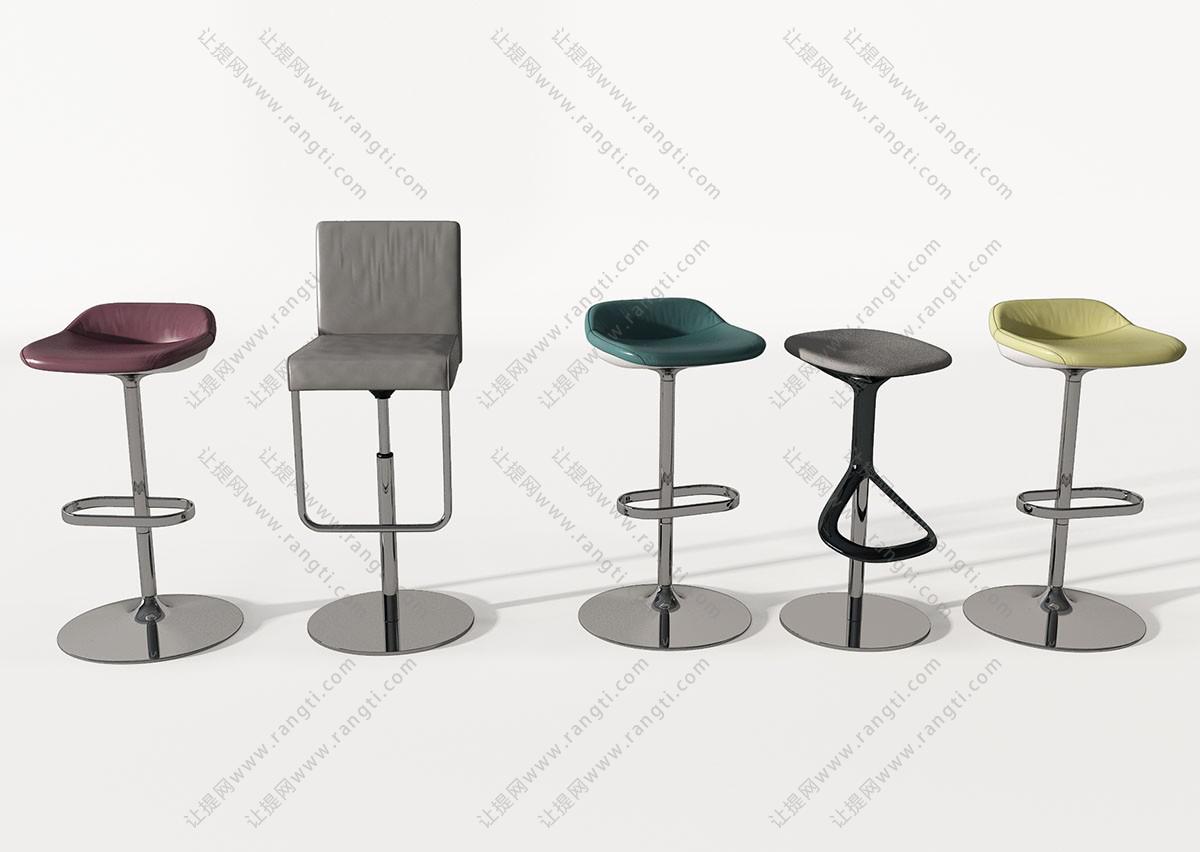 现代金属吧台椅3D模型