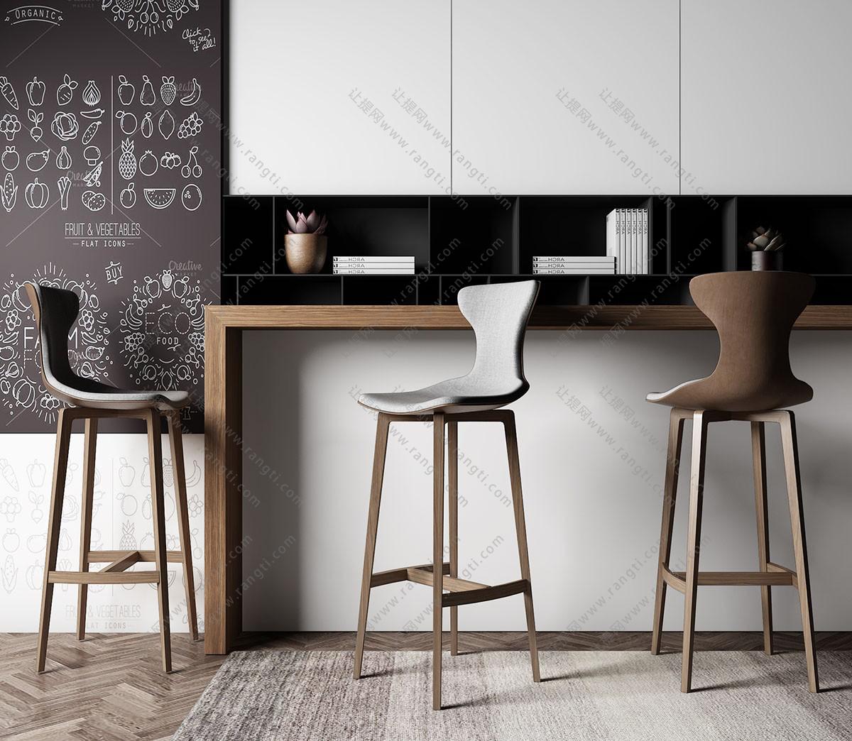 北欧吧台椅、吧凳组合3D模型