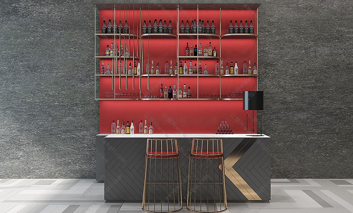 现代轻奢吧台、吧台椅、酒柜组合3D模型下载