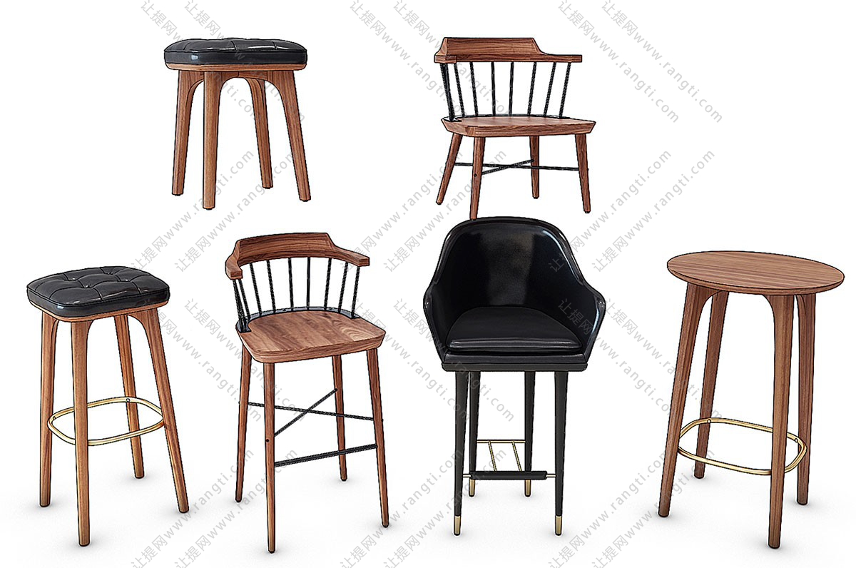 北欧实木吧台椅、吧凳、椅子3D模型