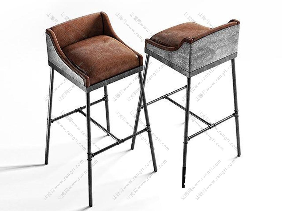 工业风铁艺吧台椅3D模型