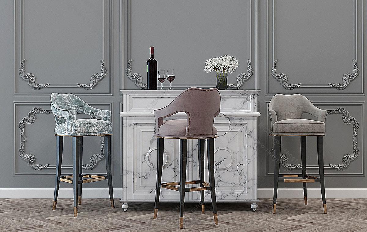 欧式布艺吧台椅3D模型