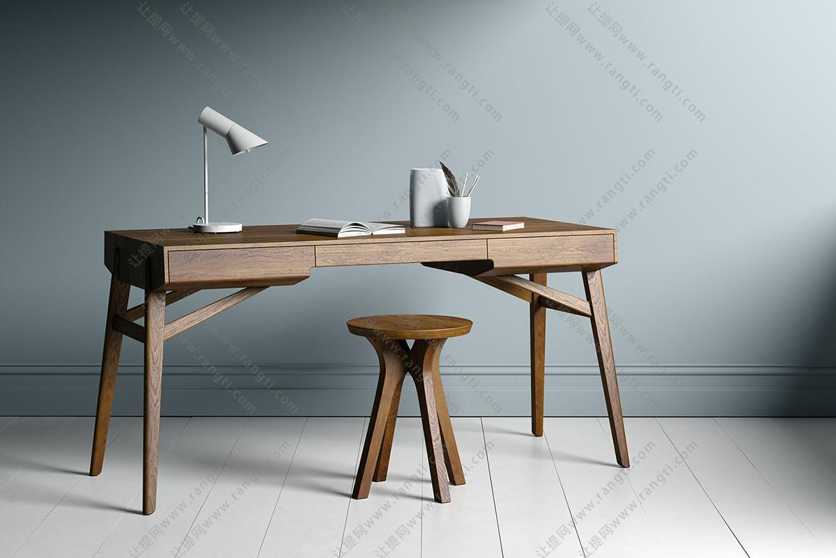北欧实木书桌写字台、凳子组合3D模型