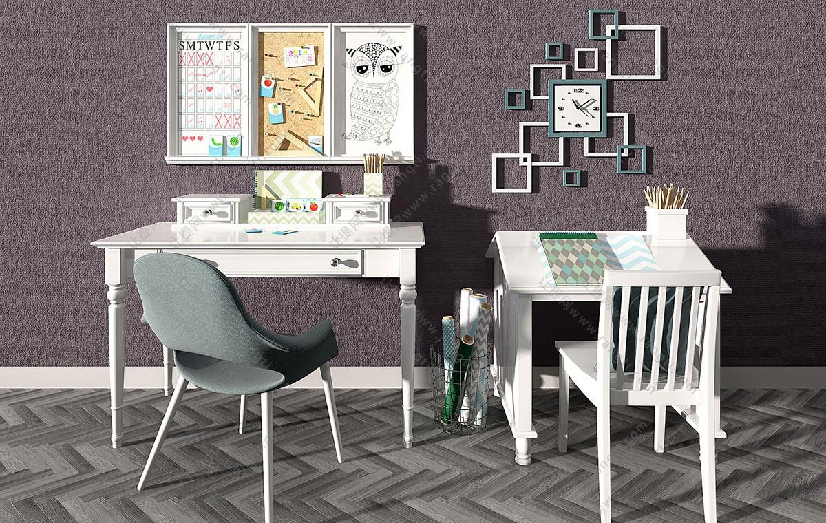欧式儿童书桌椅、写字台3D模型
