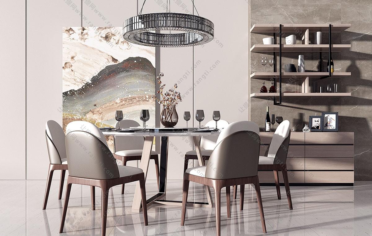 现代轻奢圆形餐桌椅、边柜组合3D模型