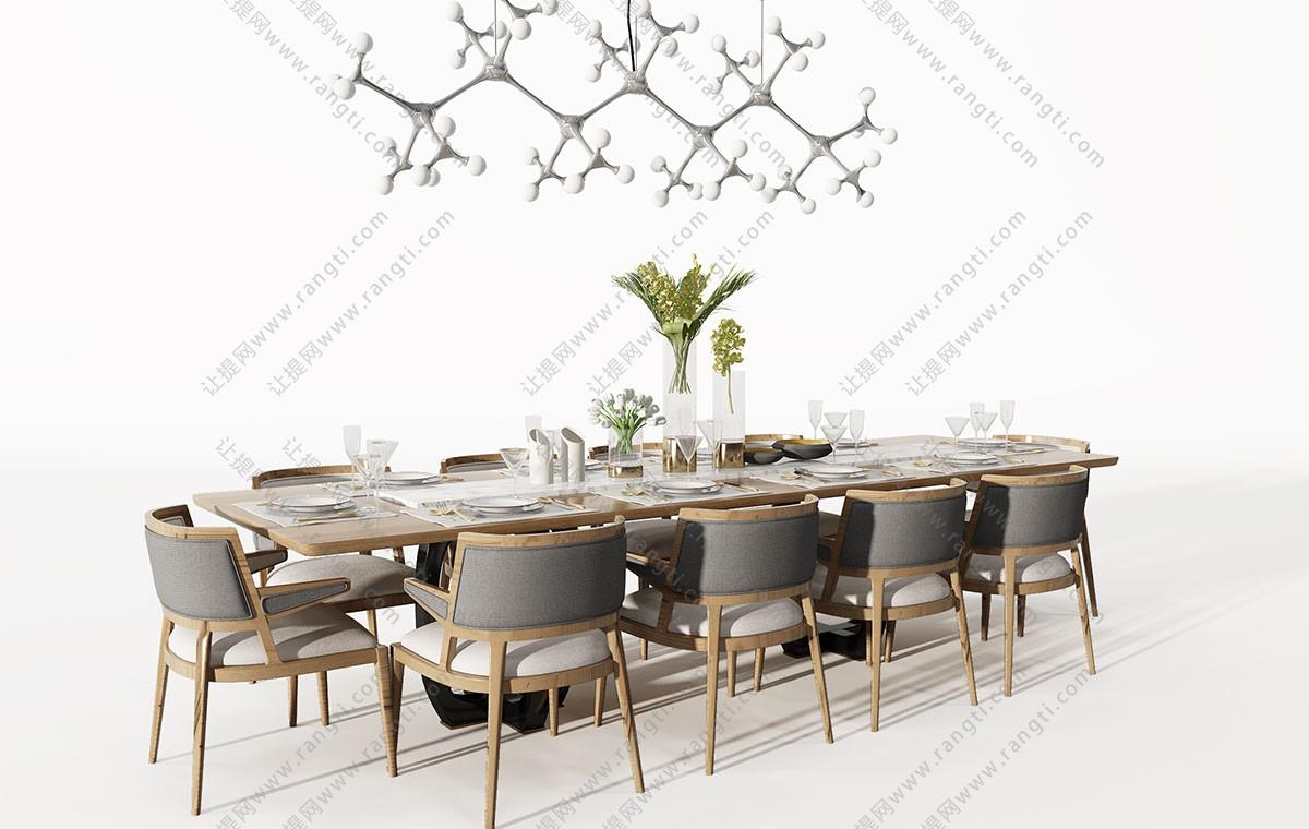 新中式布艺加长实木餐桌椅3D模型