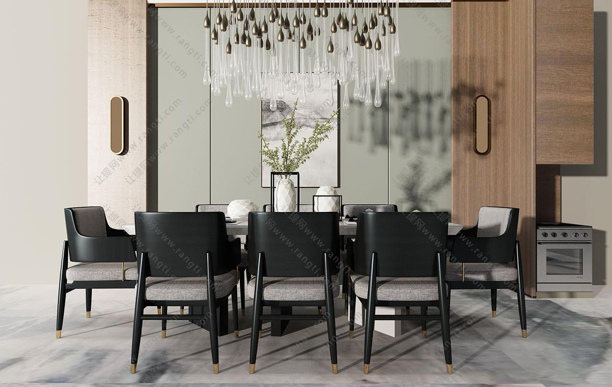 新中式布艺餐桌椅、水晶吊灯组合3D模型