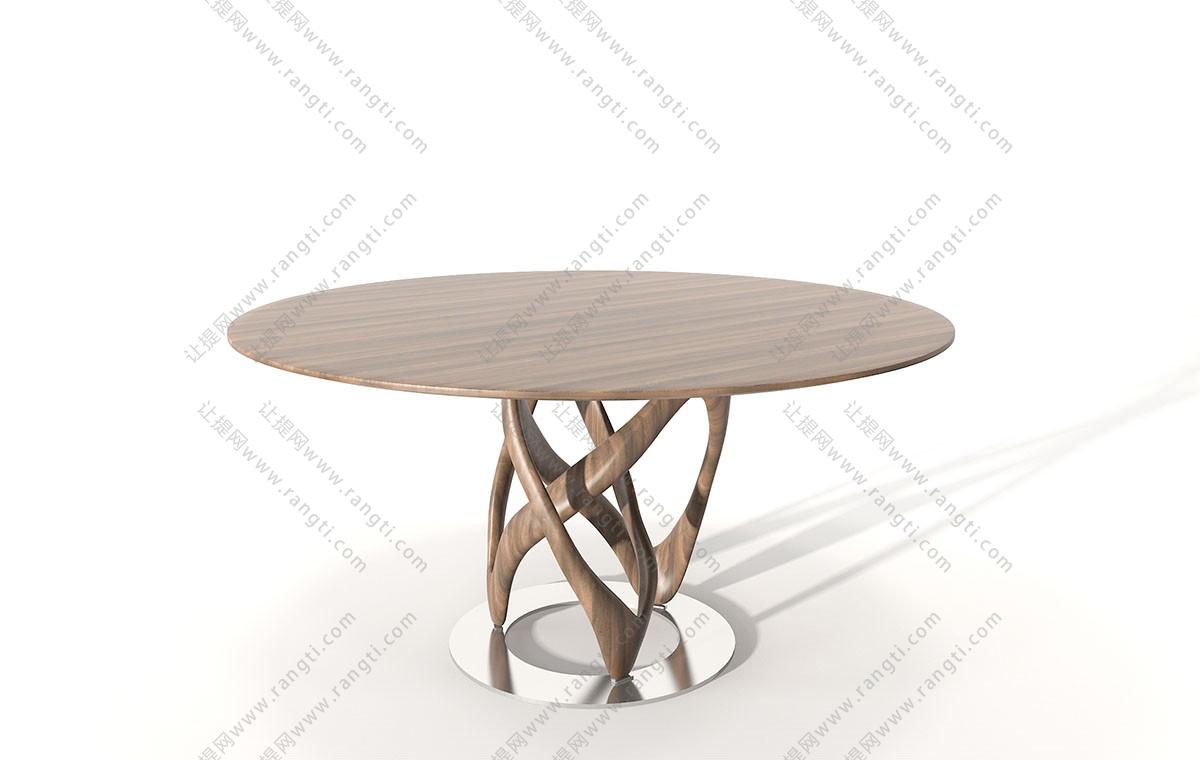 现代实木圆形餐桌3D模型