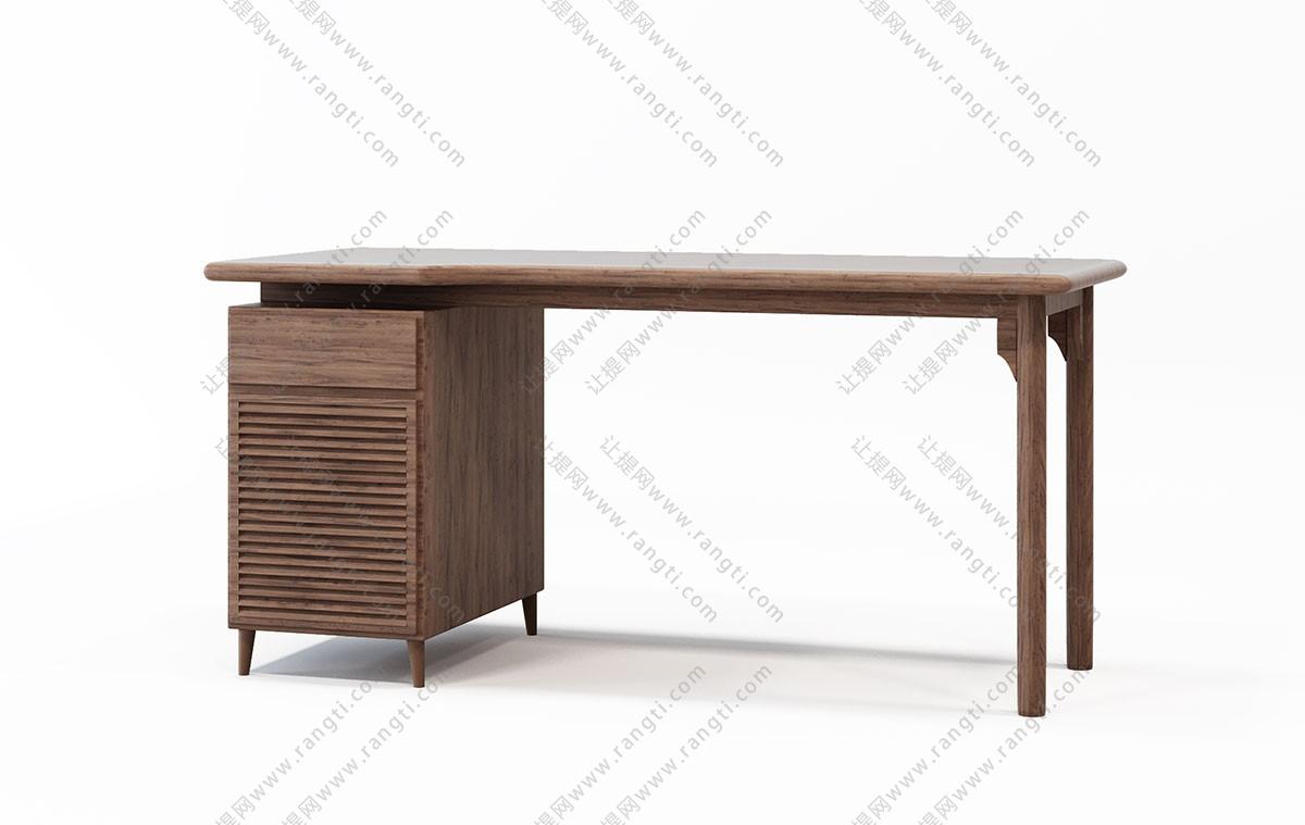 现代实木书桌、茶几3D模型