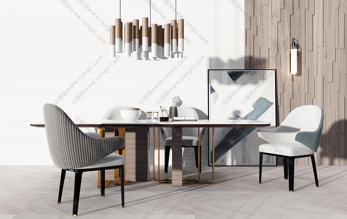现代轻奢布艺餐桌椅、吊灯组合3D模型