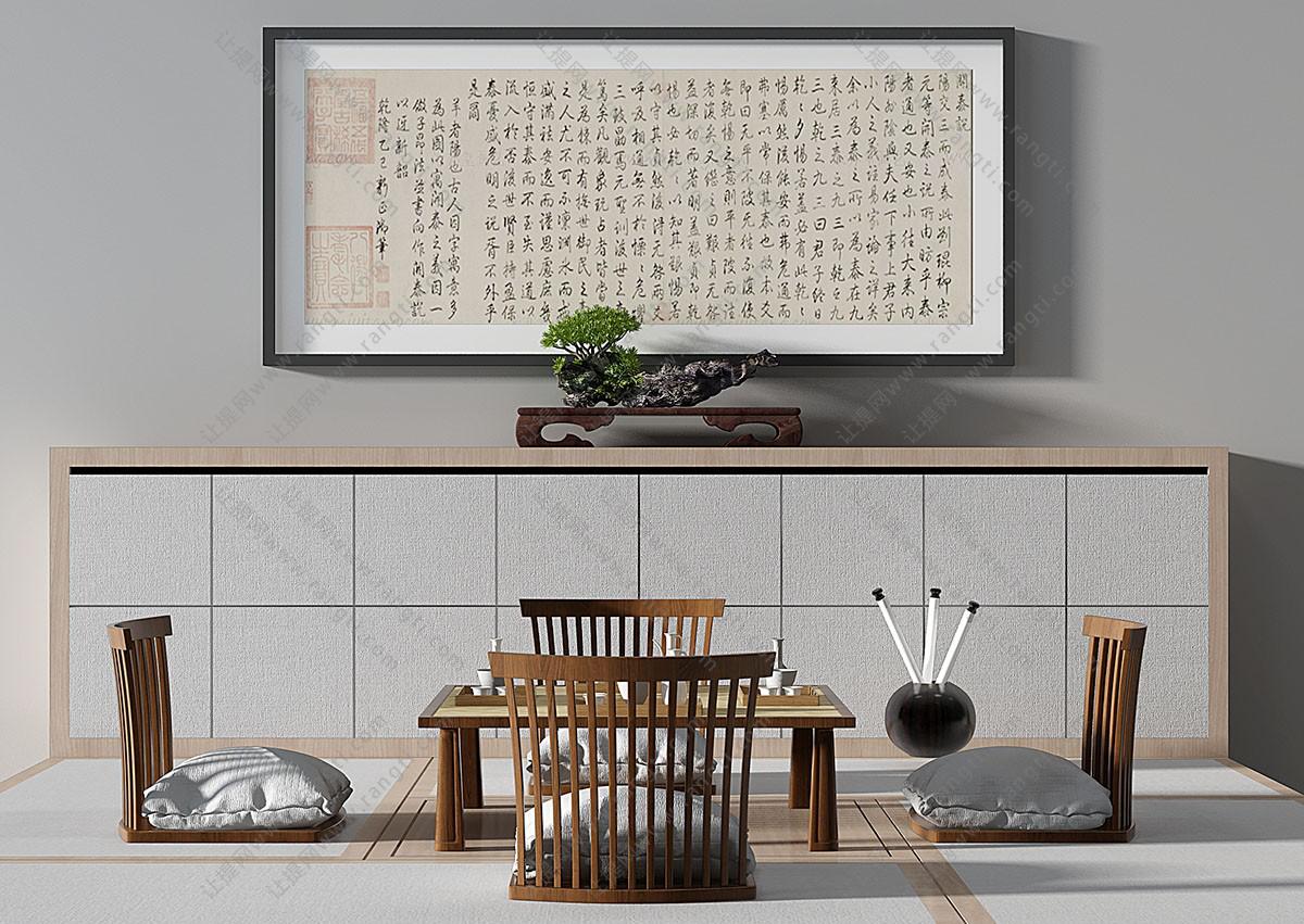 新中式实木茶桌、榻榻米、无腿椅子组合3D模型