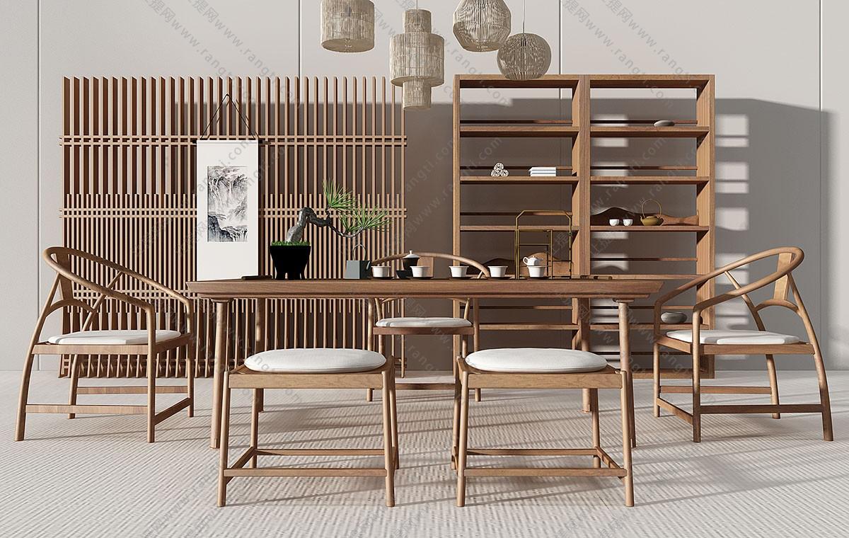 新中式极简茶桌、椅子、茶具组合3D模型