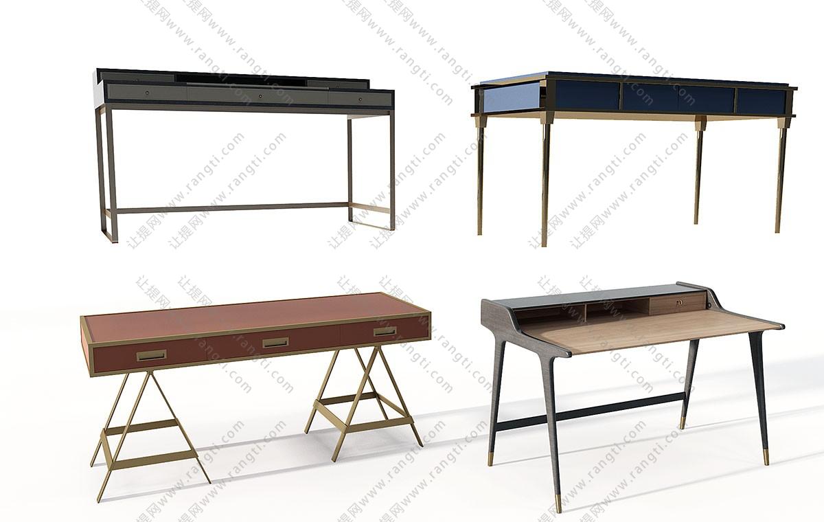 现代书桌椅写字台3D模型
