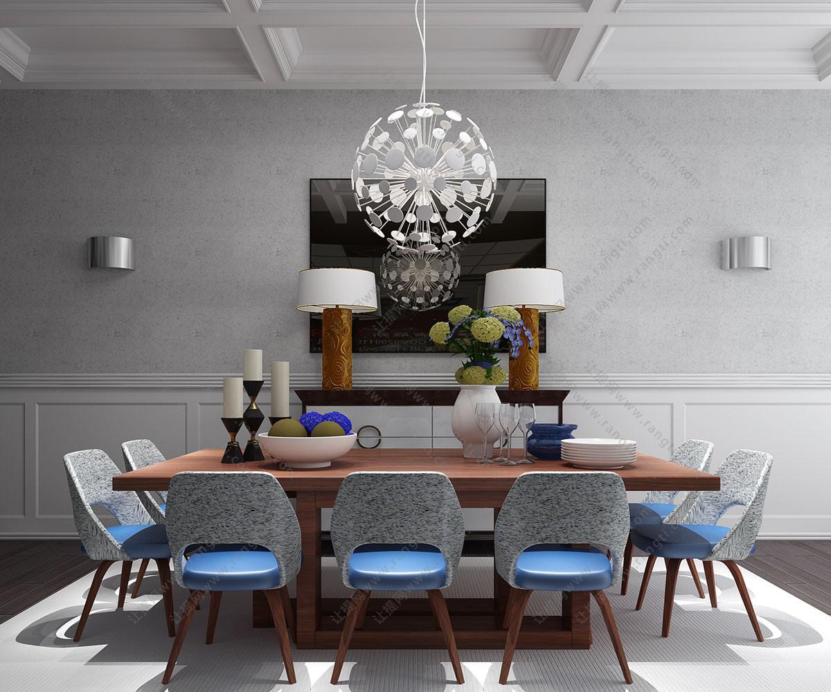 北欧实木长方形餐桌椅、吊灯组合3D模型