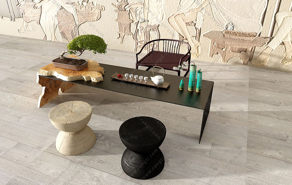 新中式木头钢板茶台、桌椅、茶具组合3D模型