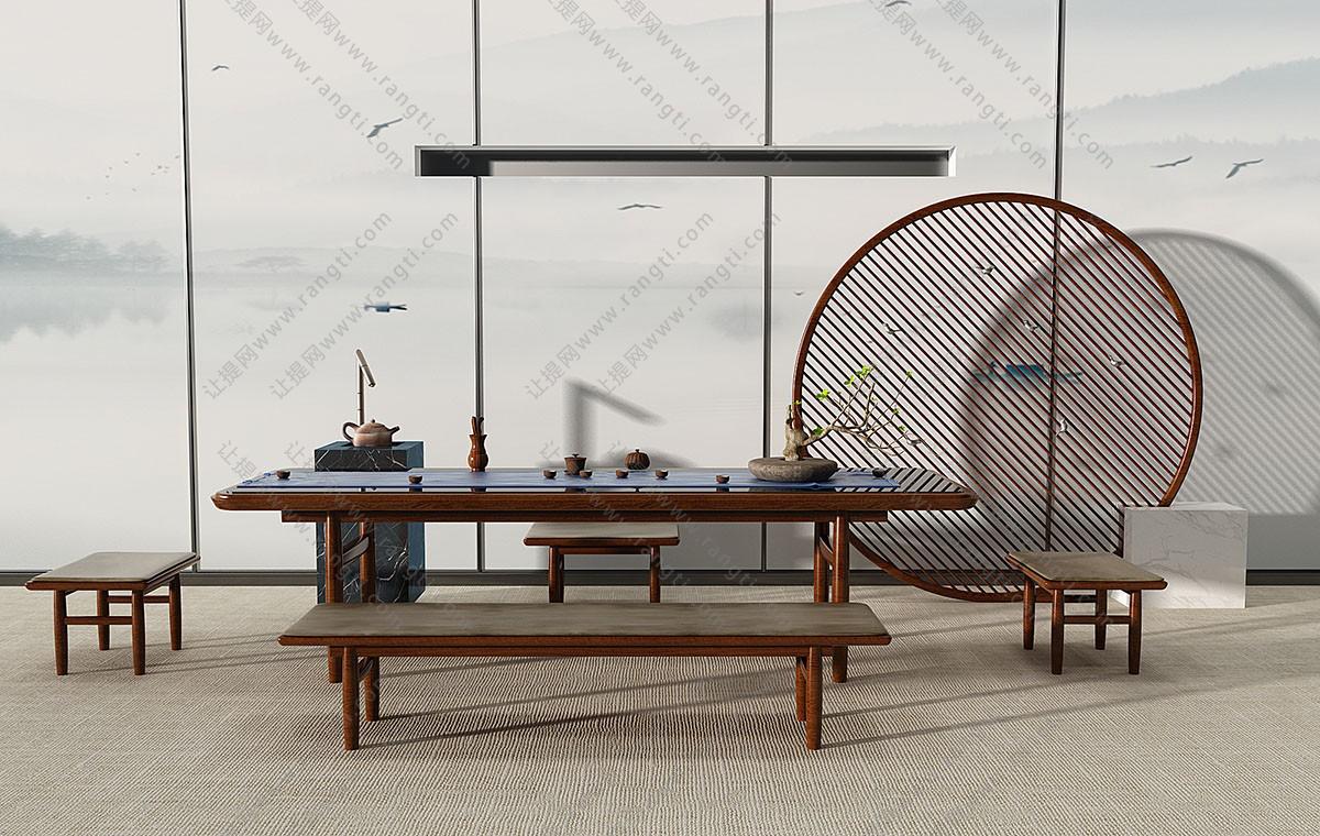 新中式实木茶桌、长凳子、茶具组合3D模型