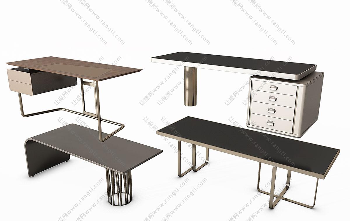 现代简约轻奢书桌、办公桌、写字台3D模型