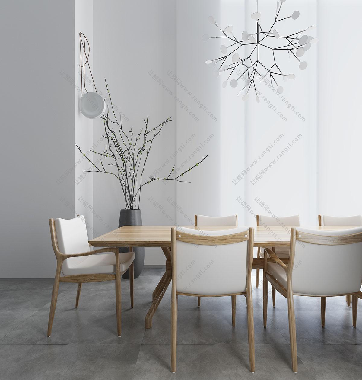 北欧实木布艺餐桌椅组合3D模型