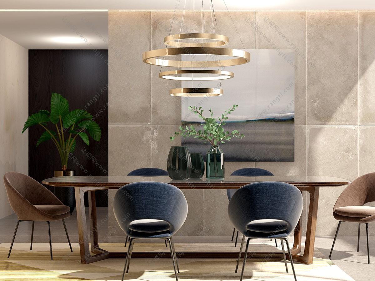 北欧布艺实木餐桌椅3D模型