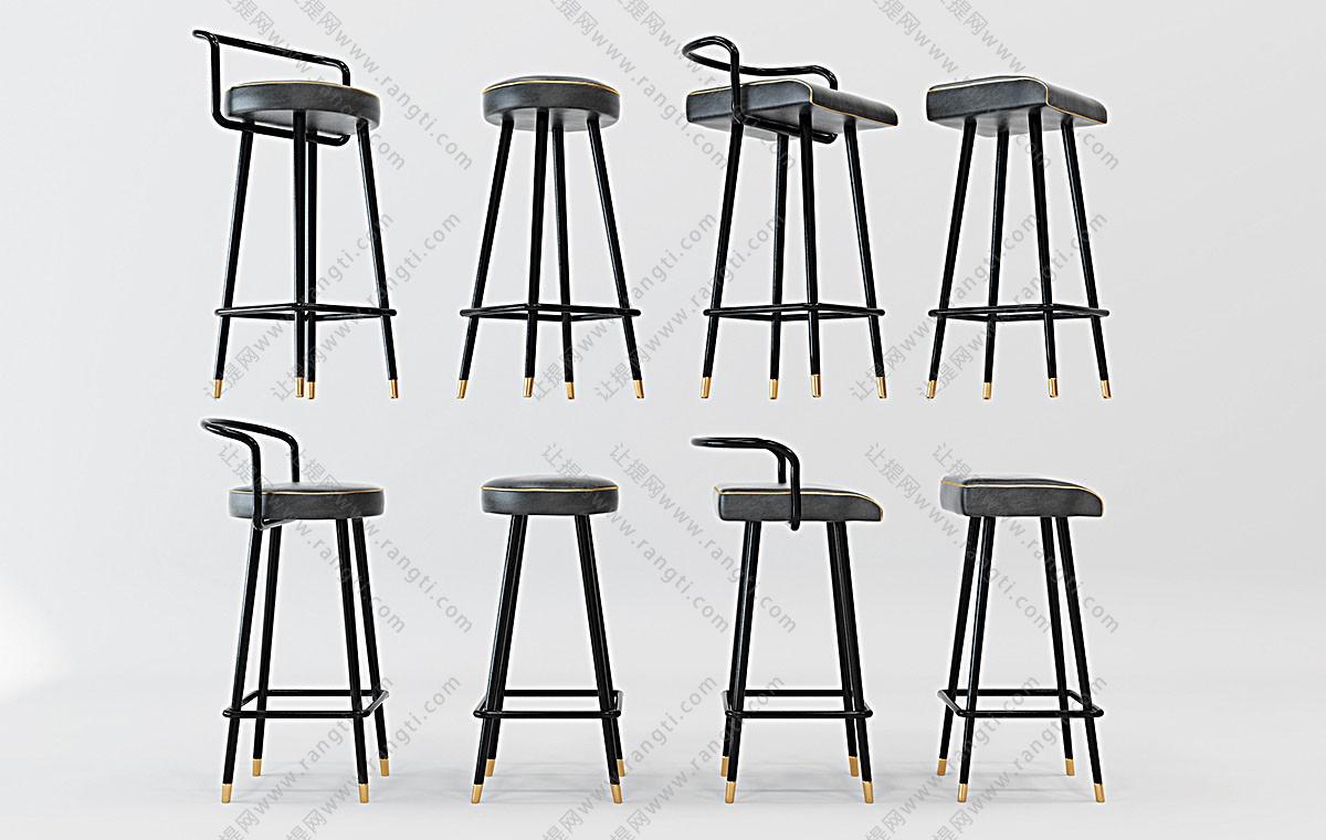 现代吧台椅、吧凳组合3D模型