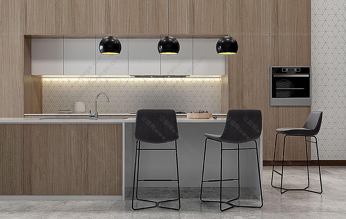 现代吧台、吧台椅、橱柜组合3D模型