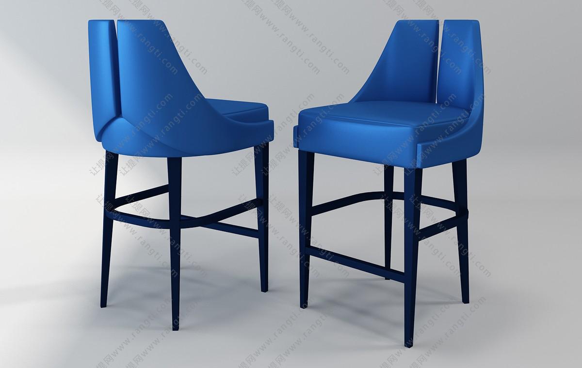 新古典吧台椅3D模型