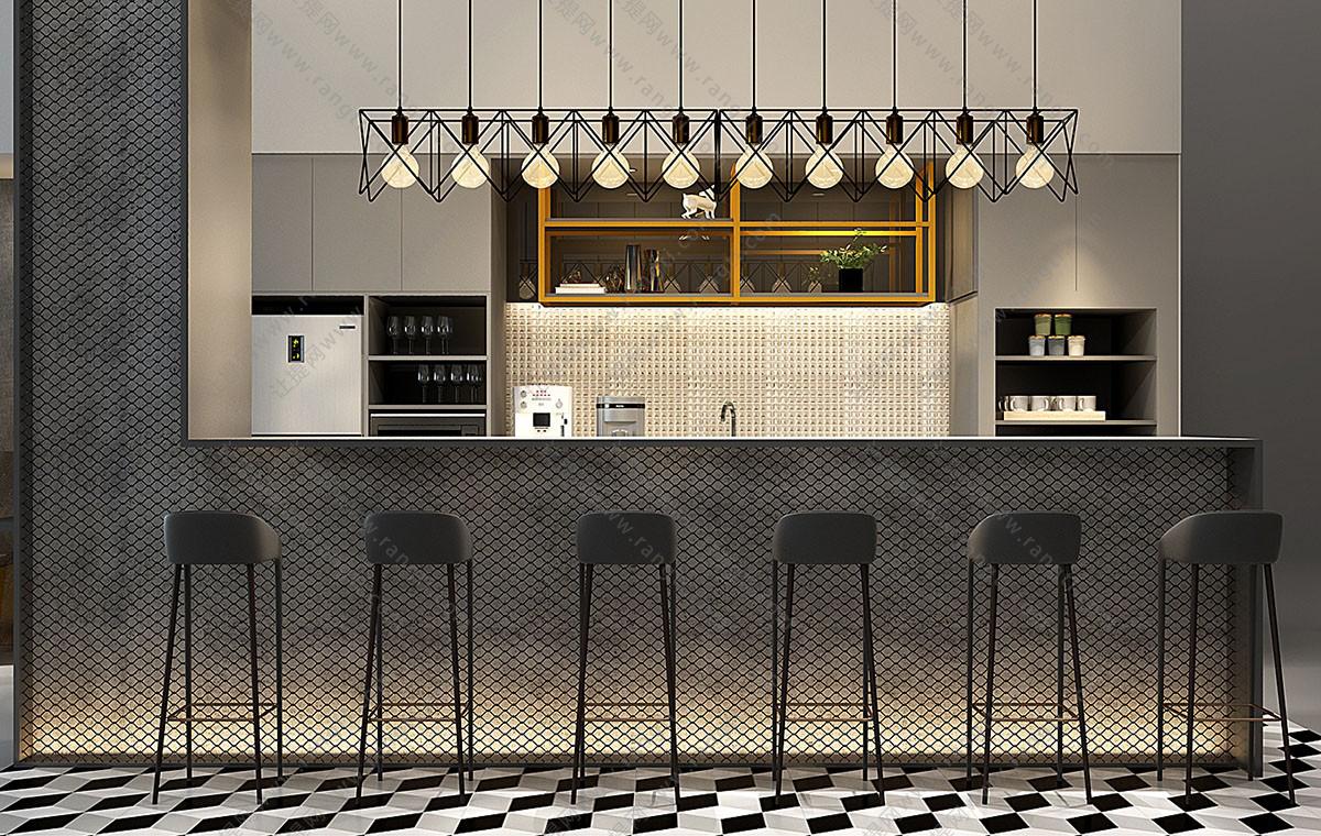 现代吧椅、水吧台、吊灯3D模型