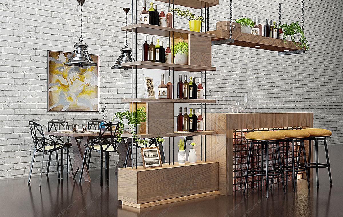 工业风loft吧椅、吊灯、酒架组合3D模型