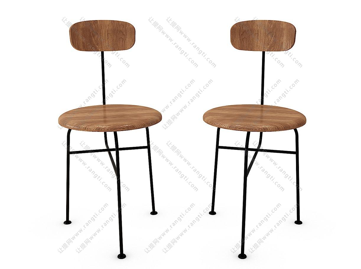 工业风吧台椅3D模型