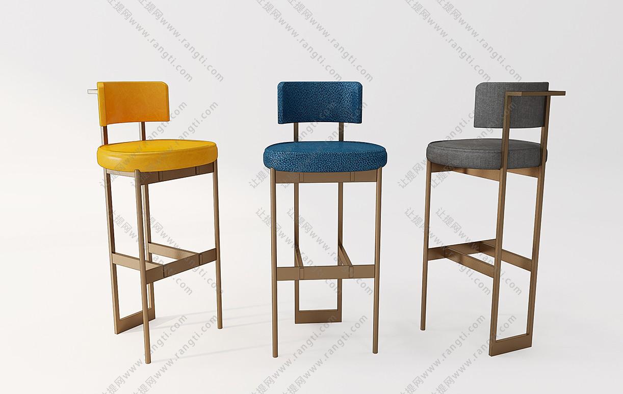 现代轻奢圆形吧椅3D模型
