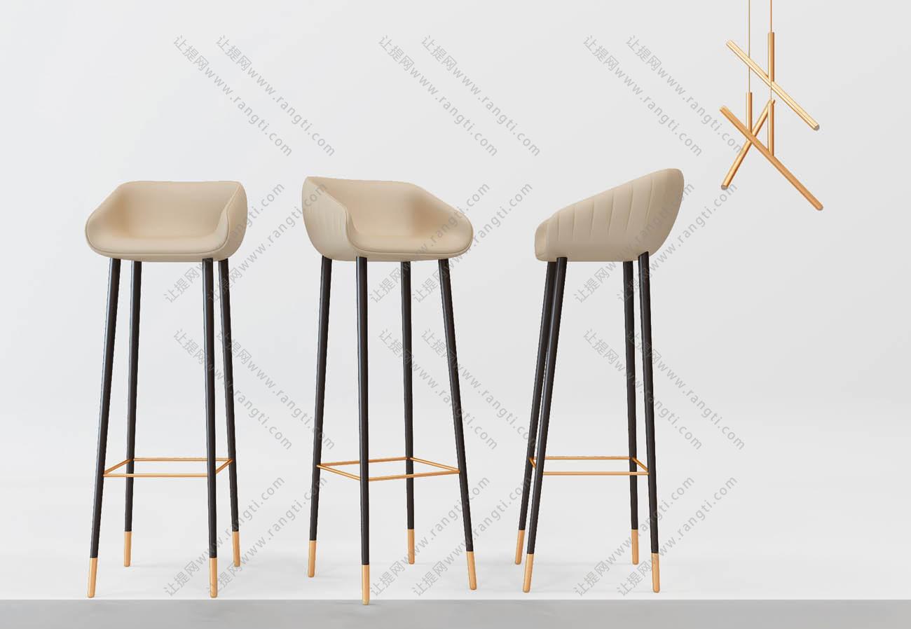 现代低奢吧台椅3D模型